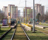 Zelený tramvajový pás